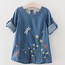 ieftine Rochii Fete-Copii Fete Activ Floral Manșon Lung Rochie Albastru piscină 100
