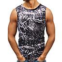 hesapli Erkek Tişörtleri ve Atletleri-Erkek Pamuklu Yuvarlak Yaka İnce - Kısa Paltolar Desen, Kabile Siyah
