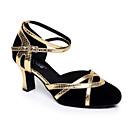 זול נעליים מודרניות-בגדי ריקוד נשים נעליים מודרניות סוויד נעלי ספורט סלים גבוהה עקב נעלי ריקוד שחור / שחור וזהב / שחור וכסף