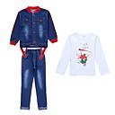 povoljno Kompletići za djevojčice-Djeca Djevojčice Osnovni Jednobojni Dugih rukava Poliester Komplet odjeće Plava 140