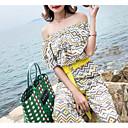 זול סט תכשיטים-קיץ שרוולים קצרים M L XL משובץ, סרבלים רגל רחבה ורוד מסמיק צהוב סטרפלס בגדי ריקוד נשים