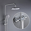 cheap Shower Faucets-Shower Faucet - Contemporary Chrome Shower System Ceramic Valve Bath Shower Mixer Taps / Brass / Two Handles Three Holes