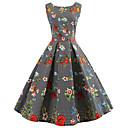 halpa Muotikorvakorut-Naisten Vintage Swing Mekko - Kukka, Painettu Polvipituinen