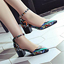 זול נעלי עקב לנשים-בגדי ריקוד נשים נעליים עור חזיר אביב קיץ נעלי בובה (מרי ג'יין) סנדלים עקב עבה בוהן מחודדת שחור / קשת