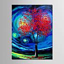 tanie Obrazy olejne-Hang-Malowane obraz olejny Ręcznie malowane - Abstrakcja / Krajobraz Nowoczesny Płótno / Zwijane płótno
