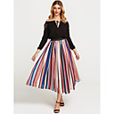 cheap Rings-women's midi swing skirts - rainbow