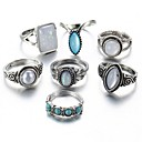 cheap Rings-Women's Opal / Turquoise Mismatched Ring Set - Drop European Silver For Daily / 7pcs