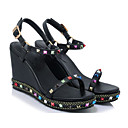 povoljno Ženske sandale-Žene Cipele Mekana koža Ljeto Udobne cipele Sandale Wedge Heel Crn / Badem