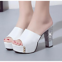 ieftine Flip-Flops de Damă-Pentru femei PU Vară Confortabili / Pantof cu Berete Sandale Toc Îndesat Alb / Negru