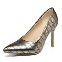 cheap Women's Heels-Women's Party Heels PU(Polyurethane) Summer Basic Pump Heels Stiletto Heel Pointed Toe Black / Silver / Almond / Party & Evening / Daily / Party & Evening