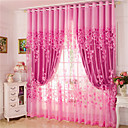 cheap Curtains & Drapes-Curtains Drapes Living Room Floral 100% Polyester Jacquard