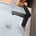 tanie Baterie łazienkowe-Bateria do umywalki łazienkowej - Szeroko rozstawiona Czarny Umieszczona centralnie Jeden uchwyt Jeden otwór