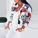cheap Men's Rings-Women's Going out Active Short Jacket, Floral / Botanical Stand Long Sleeve Polyester White / Navy Blue L / XL / XXL