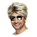halpa Synteettiset peruukit ilmanmyssyä-Synteettiset peruukit Suora Tyyli Sivuosa Suojuksettomat Peruukki Vaaleahiuksisuus Musta ja kulta Synteettiset hiukset 6 inch Miesten Liukuvärjätyt hiukset / Bangsin kanssa Vaaleahiuksisuus Peruukki