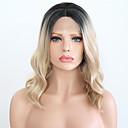 ieftine Peruci Dantelă Sintetice-Lănțișoare frontale din sintetice Pentru femei Ondulat Blond Partea centrală Păr Sintetic 12 inch Ajustabil / Rezistent la Căldură Blond Perucă Scurt Față din Dantelă Negru și Auriu