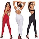 cheap Fitness, Running & Yoga Clothing-Women's Open Back Romper Jumpsuit Black Red Pink Sports Solid Color Spandex High Rise Bodysuit Zumba Yoga Running Sleeveless Activewear Sweat-wicking Butt Lift Tummy Control Stretchy Bodycon