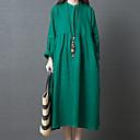 baratos Colares-Mulheres Vintage / Básico Reto / Túnicas Vestido Sólido Longo