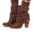voordelige Dameslaarzen-Dames Laarzen Fashion Boots Blokhak Gepuntte Teen Strass / Siernagel / Gesp PU Kuitlaarzen Herfst winter Koffie / Bruin / Khaki