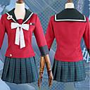 זול תחפושות בסגנון משחקי וידאו-קיבל השראה מ Dangan Ronpa Harukawa Maki אנימה תחפושות קוספליי חליפות קוספליי מנוקד / סרט פרפר / חצאיות סקוטיות עניבה / חצאיות / עליון עבור בגדי ריקוד נשים