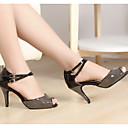 preiswerte Latein Schuhe-Damen Schuhe für den lateinamerikanischen Tanz PU Sandalen Pailetten Schlanke High Heel Tanzschuhe Schwarz und Gold / Leistung / Leder