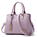 cheap Totes-Women's Bags PU(Polyurethane) Tote Zipper Gray / Purple / Wine