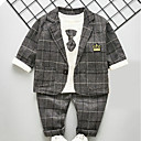 ieftine Set Îmbrăcăminte Băieți Bebeluși-Bebelus Băieți Activ / De Bază Zilnic Carouri Manșon Lung Regular Poliester Set Îmbrăcăminte Maro 100 / Copil