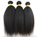 tanie Dopinki w naturalnych kolorach-3 zestawy Włosy brazylijskie Kinky Straight Włosy naturalne Fale w naturalnym kolorze / Pakiet włosów / Doczepy z naturalnych włosów 8-28 in Kolor naturalny Ludzkie włosy wyplata Rozbudowa