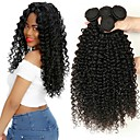 cheap Natural Color Hair Weaves-3 Bundles Indian Hair Kinky Curly Unprocessed Human Hair / Human Hair Natural Color Hair Weaves / Hair Bulk / Extension / Bundle Hair 8-28 inch Black Natural Color Human Hair Weaves Machine Made