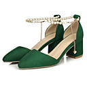 cheap Brooches-Women's Shoes Suede Spring Basic Pump Heels Chunky Heel Black / Red / Green