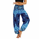 cheap Wedding Shoes-Women's Pocket / Harem / Smocked Waist Yoga Pants - Light Purple, Jade, Ocean Blue Sports Floral Print, Bohemian, Hippie Bloomers / Bottoms Belly Dance, Fitness Activewear Lightweight, Breathable