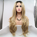 cheap Human Hair Capless Wigs-Synthetic Lace Front Wig Body Wave Black / Blonde Layered Haircut Black / Gold 130% / 180% Density Synthetic Hair 24 inch Women's Women / Youth Black / Blonde Wig Long Lace Front / Yes