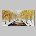 tanie Naklejki ścienne-Hang-Malowane obraz olejny Ręcznie malowane - Abstrakcja / Krajobraz Nowoczesny Płótno / Rozciągnięte płótno