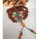 ieftine Brățări la Modă-Pentru femei Turcoaz Jad Împletit Χάντρες Bratari Strand Bratari Wrap - Buddha, Flower Shape Asiatic, Clasic, Stilul Folk Brățări Maro Pentru Oficial Festival
