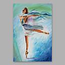 tanie Pejzaże-Hang-Malowane obraz olejny Ręcznie malowane - Ludzie Nowoczesny Naciągnięte płótka / Rozciągnięte płótno