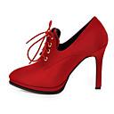 ieftine Tocuri de Damă-Pentru femei Pantofi Piele de Oaie Toamnă Confortabili / Balerini Basic Tocuri Toc Stilat Negru / Rosu / Kaki