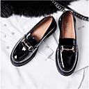olcso LED szalagfények-Női Cipő Nappa Leather Tavasz / Nyár Kényelmes Papucsok & Balerinacipők Lapos Zárt orrú Fekete / Burgundi vörös