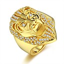 cheap Men's Rings-Men's Cubic Zirconia Cuban Link Ring - Lion Hip-Hop 8 / 9 / 10 / 11 / 12 Gold For Carnival Street