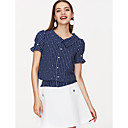 cheap Travel Health-Women's Vintage T-shirt - Solid Colored Blue & White, Backless