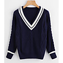 cheap Synthetic Capless Wigs-Women's Daily Basic Color Block Long Sleeve Regular Pullover, V Neck White / Navy Blue One-Size