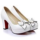 baratos Sapatos de Salto-Mulheres Pele de Carneiro Verão Conforto Saltos Salto Robusto Branco / Preto / Rosa claro / Diário