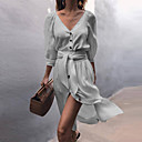 זול הד פיס למסיבות-צווארון V מעל הברך אחיד - שמלה חולצה בגדי ריקוד נשים