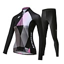 cheap Rhinestone & Decorations-Mysenlan Women's Long Sleeve Cycling Jersey with Tights - Black Bike Clothing Suit, 3D Pad, Quick Dry, Breathable Polyester, Spandex Patchwork