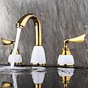 tanie Baterie łazienkowe-Bateria do umywalki łazienkowej - Szeroko rozstawiona / Nowy design Złoty Montowanie na krawędzi Dwa uchwyty Trzy otwory