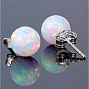 cheap Earrings-Women's Synthetic Opal Stylish Solitaire Stud Earrings - S925 Sterling Silver Ball Ladies, Stylish, Classic, Sweet Jewelry White For Date Work / 1 Pair