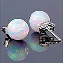 preiswerte Modische Ohrringe-Damen Synthetischer Opal Stilvoll Solitär Ohrstecker - S925 Sterling Silber Kugel Stilvoll, Klassisch, Süß Weiß Für Verabredung Arbeit