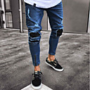cheap Anime Cosplay Accessories-Men's Slim Jeans Pants - Color Block Blue