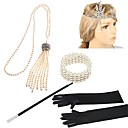 cheap Jewelry Sets-The Great Gatsby Vintage 1920s Costume Women's Flapper Headband Headwear Pearl Necklace Black+Sliver / Golden+Black / Black / White Vintage Cosplay Rhinestone Feather