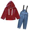tanie Sukienki dla dziewczynek-Brzdąc Dla dziewczynek Podstawowy Solidne kolory Długi rękaw Poliester Komplet odzieży Czerwony 140