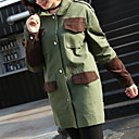 cheap Rings-Women's Daily Military Fall & Winter Long Trench Coat, Solid Colored Turndown Long Sleeve Polyester Army Green S / M / L