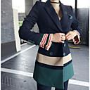 billige Bryllupsblomster-Dame Bomull Blazer Bukse Fargeblokk Skjortekrage